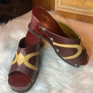 Burgundy & cream leather vintage clogs stud patina
